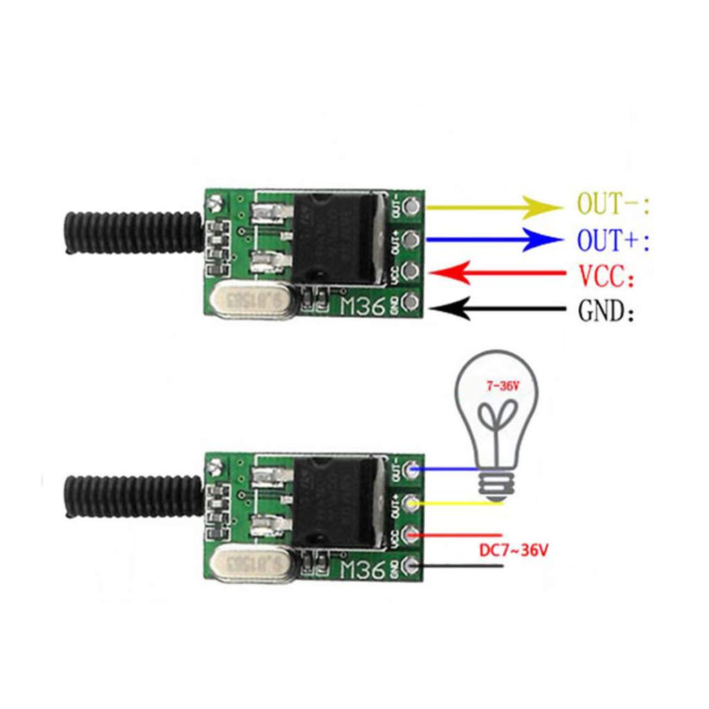 Almencla 2 Pieces Channel Circuit Switch Mini Relay 12V-36V Black and Red by Almencla (Image #6)