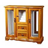Mele Designs Jewelry Box Lyra Glass Door Jewelry Box, Burlwood Oak Finish