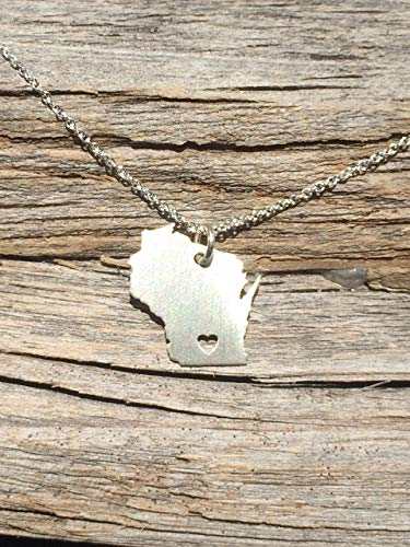 Wisconsin Necklace - State Necklace - Personalized Necklace - Christmas Gift - Sterling Silver 14K Gold Filled Charm - Pendant