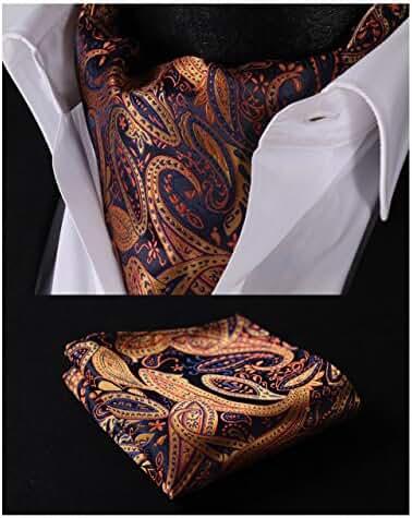 HISDERN Men's Paisley Jacquard Woven Self Cravat Tie Ascot Set