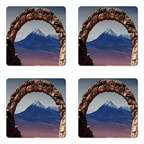 - Lunarable Volcano Coaster Set of Four, South American Desert Landscape with Mountains Seen from Stone Arch, Square Hardboard Gloss Coasters for Drinks, Light Pink Navy Blue Brown