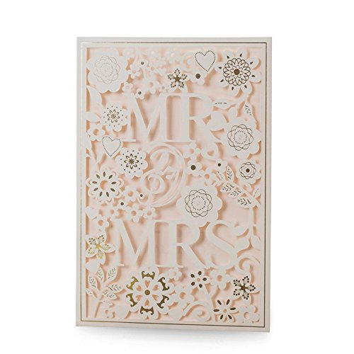 Doris Home Square Wedding Invitations Cards Kits Fall Bridal, Baby Shower Invite, Birthday Invitation Wedding Rehearsal Dinner Invites, with Gold Bowknot (White)