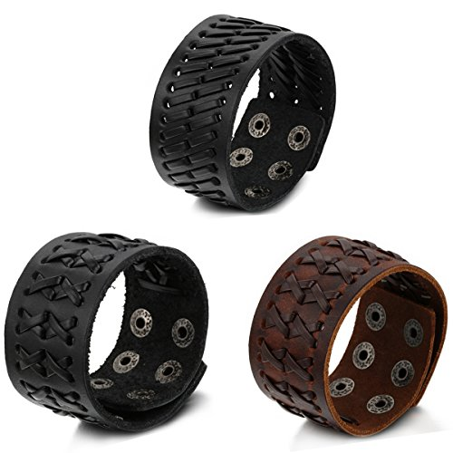 Aroncent 3pcs Braided Mens Wide Leather Bracelet Wristband Bangle with Snap Buttons - 2 Black 1 Brown Adjustable Wide Bangle Bracelet