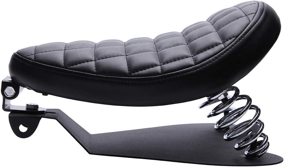 Cuscino Sella Moto,Cuscino monoposto per moto con molle Set di staffe di montaggio Sedile in pelle di nero per Sportster XL1200 883 48 Forty Eight Fatboy Softtail Dyna Street Glide