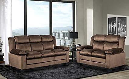 GTU Furniture Microfiber Sofa And Loveseat Living Room Set (Chocolate)