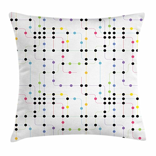 Metro Contemporary Sofa (Colorful Throw Pillow Cushion Cover by Ambesonne, Metro Scheme with Vivid Colored Intricate Lines and Dots Urban Life Transportation, Decorative Square Accent Pillow Case, 16 X 16 Inches, Multicolor)