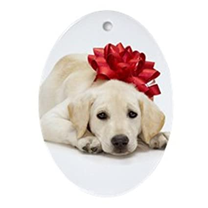 Amazoncom Cafepress Yellow Lab Puppy Ornament Oval Oval