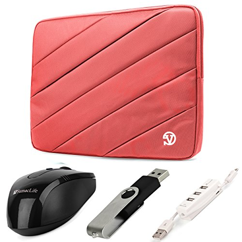 VanGoddy Jam Series Bubble Padded Striped Sleeve for Lenovo 14 to 15.6 inch Laptops & Ultrabooks (Pink) + USB Mouse + 4GB Thumbdrive + 3 Port USB Hub