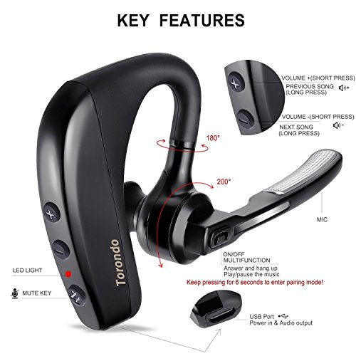 Lovely New Version Bluetooth Headset Torondo V4 1 Hand Free Wireless Earpiece Sweatproof Noise Reduction Earbuds With Microphone Crystal Clear Sound For Business Trukers Driver Pair With Android Iphone Fwm15 Judahnagler Com