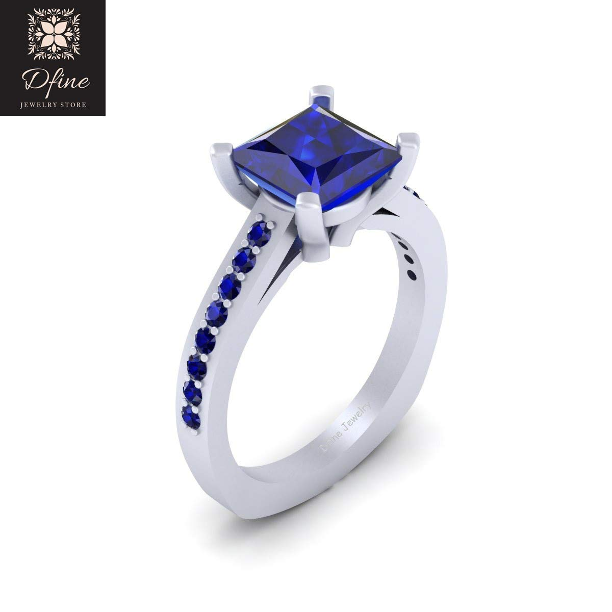 Amazon Com Princess And Round Cut Blue Sapphire Engagement Ring