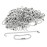 "MACHEE 100 Pcs 3.5"" Long 0.09"" Bead Dia Connector Clasp Ball Chain Keychain"