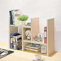 Garwarm Desktop Organizer,Office Storage Rack Adjustable Wood Display Shelf,Counter Top Bookcase,Beige