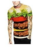 Elakaka Valentine's Day 3D Hamburger Digital Printing Lovers Fitted T - shirt(Size,L)