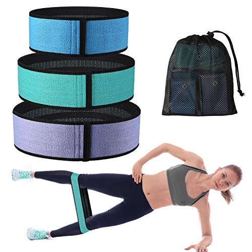 Pashion Booty Bands Hip Resistance Bands for Legs and Butt Non Slip Thick Cloth Fitness Loop Exercise Bands for Crossfit, Yoga Bag, Physical Therapy, and Muscle Training with Carrying Bag,Set of 3