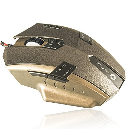 ZAIDTEK Gold Luxury Gamer Mouse Universal Design 9 Buttons can be Customized with Magnetic Ring Nylon Braid Cable for Game, Entertainment,Office