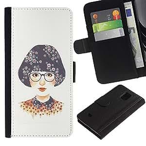 For Samsung Galaxy S5 Mini / Galaxy S5 Mini Duos / SM-G800 !!!NOT S5 REGULAR! ,S-type® Girl Glasses White Nerd - Dibujo PU billetera de cuero Funda Case Caso de la piel de la bolsa protectora