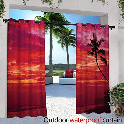 BlountDecor Ocean Outdoor Blackout Curtains W72 x L96 Sunset View from a Tropical Island Beach with Silhouette of Palm Tree on The Shore Art Print Outdoor Privacy Porch Curtains Red ()