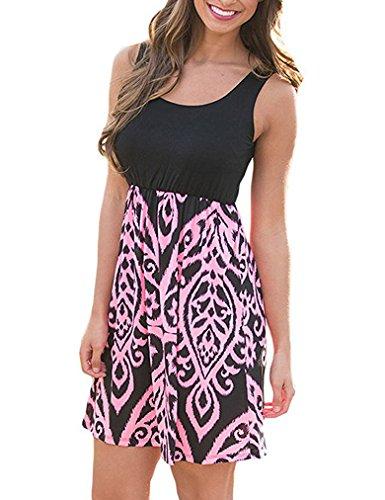 Beach Print Pink Tank Sleeveless Summer Mini Dress Women's Swing Floral Top Sherosa Casual qw6CpEx0ZW