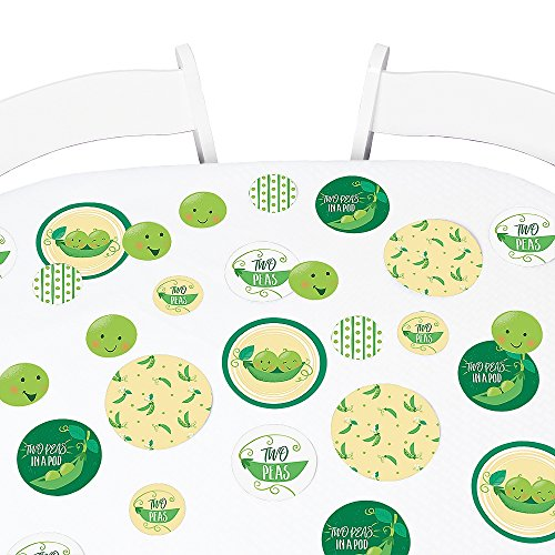 (Big Dot of Happiness Double The Fun - Twins Two Peas in a Pod - Baby Shower Giant Circle Confetti - First Birthday Party Decorations - Large Confetti 27 Count)