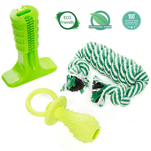 mayii Dog Teething Toys Set for Puppies – Nontoxic Durable Rubber Pet Toothbrush Stick for Your Lovely Dogs(Small Size)
