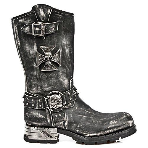 New Rock Mens Black Rub Off Leather Skull Metallic Biker Boots - M.MR030-S2 (9 DM US, Black Rub off) - Rub Off Black Leather Boots