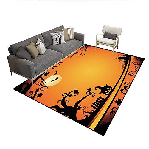 (Carpet,Halloween Themed Image Eerie Atmosphere Gravestone Evil Pumpkin Moon,Print Area Rug,Orange Black)