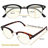 Computer Glasses 2 Pairs Anti Glare Anti Reflection Clubmaster Computer Reading Glasses Spring Hinge Comfort for Men and Women