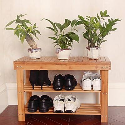 Shoe Rack Storage Bench Bamboo Organizer Entryway Organizing Shelf with Storage Drawer on Top by BAMBUROBA