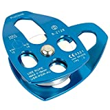 """ProClimb 30kN Aluminum Rope Pulley with Swing Plate - CE/UIAA Certified, Single Sheave (Blue) - 5/8"""" Rope"""
