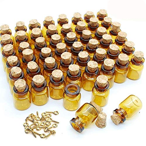 - JKLcom 0.5 ml Small Mini Glass Bottles with Corks Dark Brown Small Corks Bottles Amber Glass Vials for Party Wedding Jewelry Making Miniature Altered Art,50 Pcs