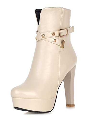Women's Stylish Buckle Strap Round Toe Side Zipper Booties Chunky High Heel Platform Ankle Boots Shoes
