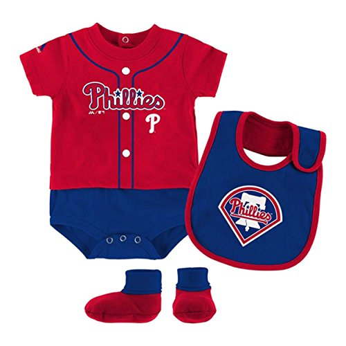 Philadelphia Phillies Red Infant Tiny Player Creeper, Bib, Bootie Set (12 Months) ()