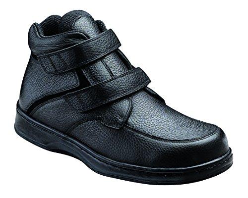 Orthofeet Glacier Gorge Comfort Orthopedic Orthotic Diabetic Mens Boots Black Velcro Black Leather 7...