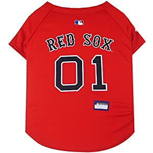 Pets First MLB BOSTON RED SOX Dog Jersey, Medium. - Pro Team Color Baseball Outfit