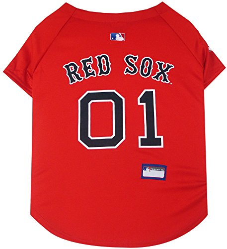 (Pets First MLB Boston RED SOX Dog Jersey, Medium. - Pro Team Color Baseball Outfit)