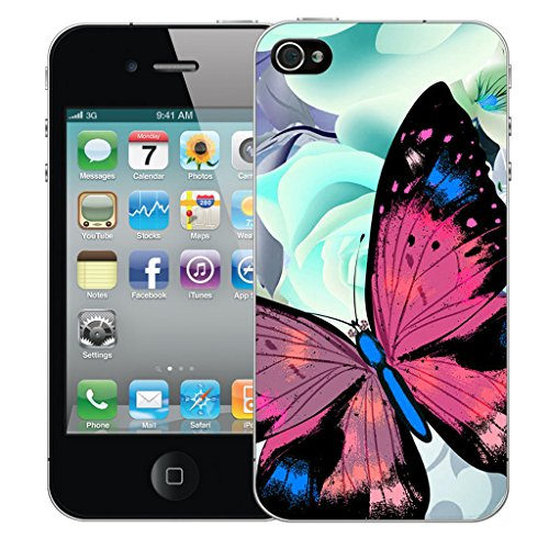 Mobile Case Mate iPhone 4 Silicone Coque couverture case cover Pare-chocs + STYLET - Graceful Butterfly pattern (SILICON)