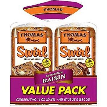 Swirls Raisin - Thomas' Cinnamon Raisin Swirl Toasting Bread (2 Pk.)