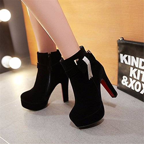 metal Black Autumn heavy and decorations and with suede heel high European American winter heels rzrPqwO