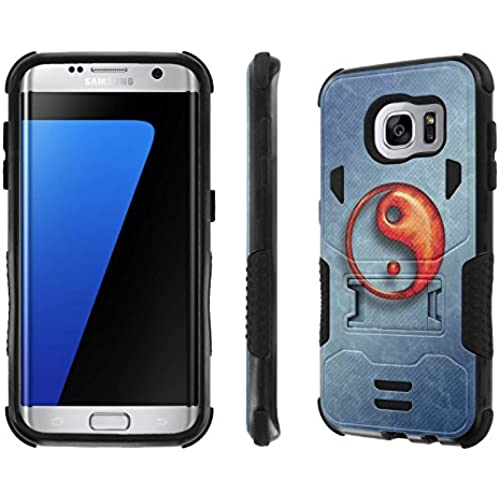 Galaxy S7 Edge Case, [NakedShield] [Black/Black] Combat Tough SHOCK PROOF with KICKStand - [Blue Ying Yang] for Sales