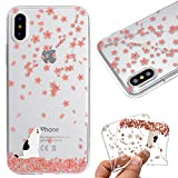 Case for iPhone X,Cover for iPhone X,Leeook Fashion Creative Transparent Pink Flower Cat Pattern Design Soft Ultra Thin TPU Silicone Protector Back Rubber Clear Flexible Slim Bumper Shell Mobile Phone Case Cover for Apple iPhone X + 1 x Free Black Stylus