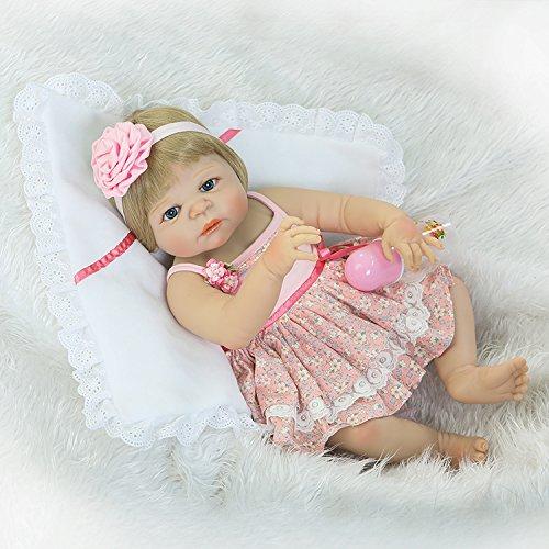 22/'/' Reborn Baby Doll Full Vinyl Silicone Blonde Wig Girl Newborn Doll+Clothes