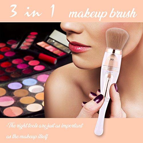 Makeup Brushes Zoreya(TM) 3 in 1 New TRIO Complexion 3x High Efficient Multipurpose Professional Design Makeup Brushes set Kit with Maximum Application, Bronzer Brush, Blender Sponge (Angled Brow Set)