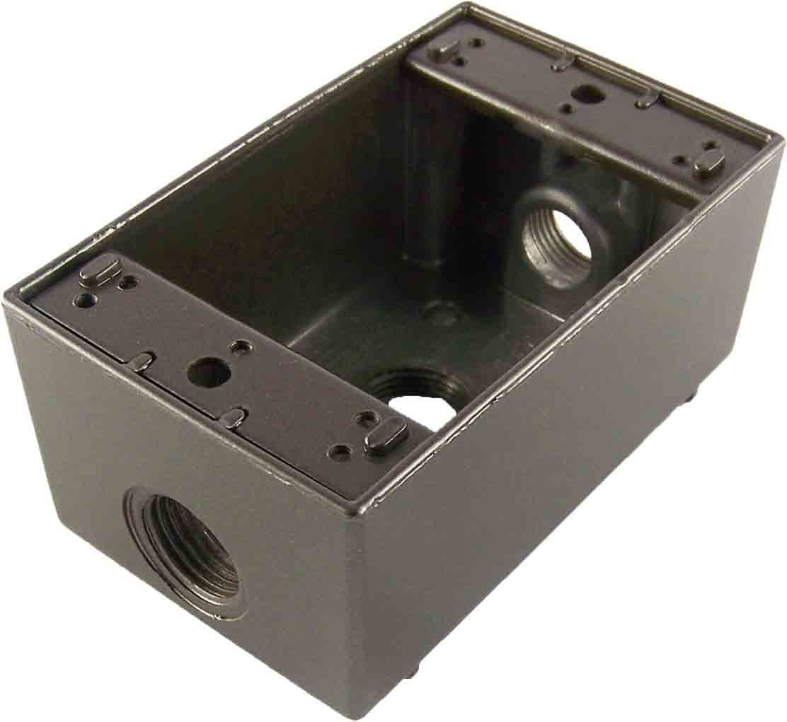Made in USA Weatherproof Electrical Outlet Box (3) 1/2' Holes - Bronze Greenfield Industries Inc. B23BRS