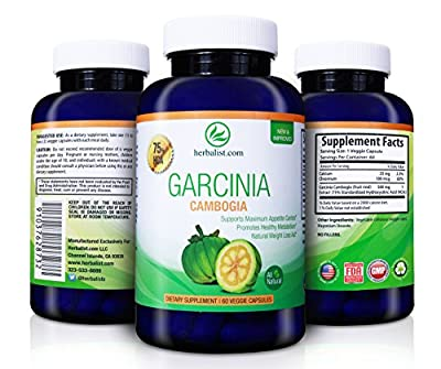 Pure Garcinia Cambogia Advanced Formula with 75% HCA, Maximum Safe Weight Loss; Non-GMO, Gluten-Free