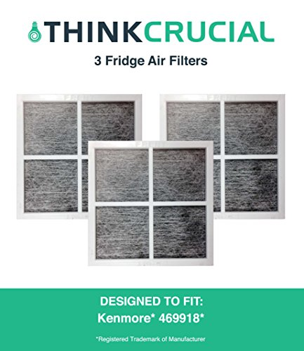 3 Premium Kenmore Elite 9918 Air Purifying Fridge Filter, Part # 469918 & 04609918000, by Think Crucial