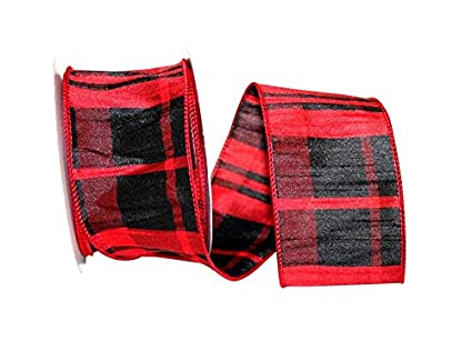 wire edged buffalo black and red dupioni plaid christmas ribbon 2 12