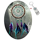 AWAYTR Forest Dreamcatcher Gift Handmade Dream Catcher Net with Feathers Wall Hanging Decoration Ornament (Turquoise Stone Feather Dream Catcher) c