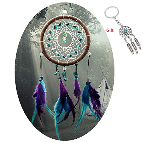 AWAYTR Forest Dreamcatcher Gift Handmade Dream Catcher Net with Feathers Wall Hanging Decoration Ornament Turquoise Stone Feather Dream Catcher