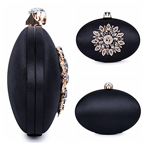 Womens Oval Large Black Crystal Vintage Chichitop Evening Floral Bags FzwdzZBq