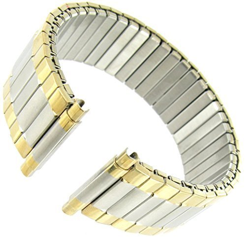Two Tone Flex Bracelet - Men's Stainless Steel Stretch Watch Band, Flex Radial Expansion Replacement Strap, 16-22 mm - Two Tone Gold & Silver